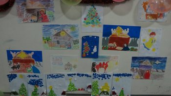 Competition of children's Christmas pictures in the Sunday School at the All Saints Church in Pattaya
