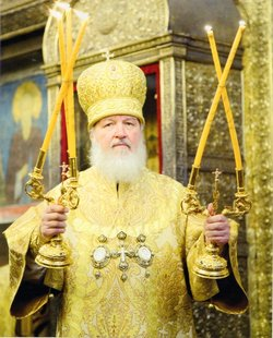 Patriarch Kirill of Moscow and All Russia at the Liturgy in the Assumption Cathedral of the Moscow Kremlin.