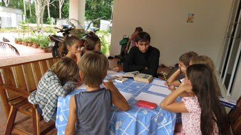 Tomsk seminarian, Sergei Kryuchin teaches classes in Sunday School