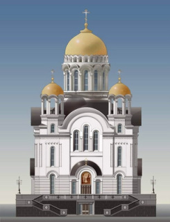 A model of an Orthodox Church in the city of Sihanoukville