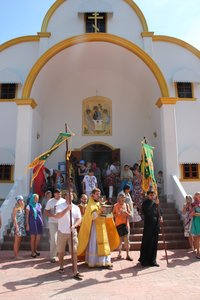 The procession with the holy relics of St. Nicholas around Holy Trinity Church on Phuket