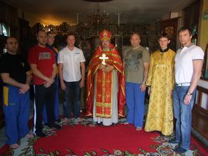 Ukrainian national team of Thai boxing after the prayer service in the Chapel of St. Nicholas in Bangkok