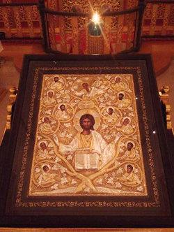 Икона Спасителя с благословляющей надписью Патриарха Иерусалимского ФЕОФИЛА