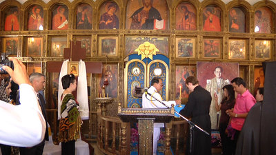 Ceremony of the formal civil founding of the monastery, representative of the King of Thailand, Secretary of the Parliamentary Committee of Defense, Lieutenant General Akachai Chintosa