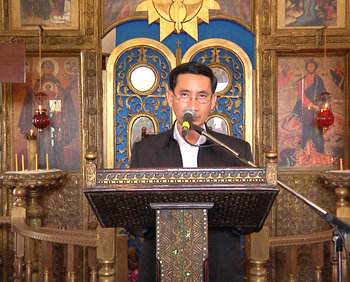 The speech of the head of the district area where the Holy Dormition Monastery is located