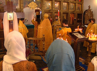The first Divine Liturgy in the monastery church of the Dormition